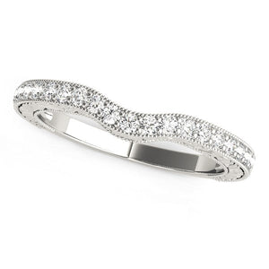 14K White Gold Antique Style Milgrained Curved Diamond Wedding Ring (1/4 ct. tw.)