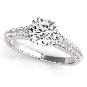 14K White Gold Round Double Prong Multirow Band Diamond Engagement Ring (1 1/8 ct. tw.)