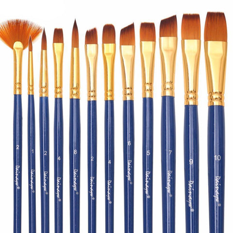 Professional 12 piece set of Artist Nylon Hair Paint Brushes for Oil, Watercolor, or Face painting