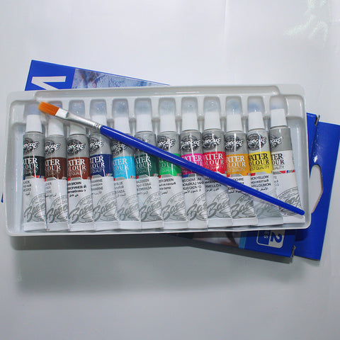 12 Color Tubes Set of Professional Watercolor Paints in 6ML tubes with Free Paint Brush Included!