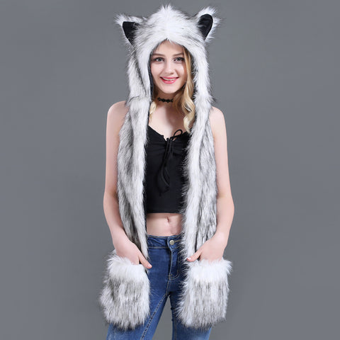 Faux Fur Animal Hood, Scarf, and Glove Combo in several varieties for Women!