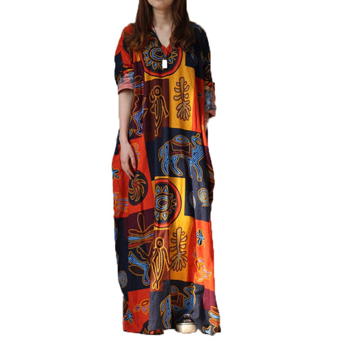Oversized Robe-like Literary Long Dress