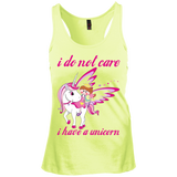 i do not care I have a unicorn Junior's Racerback Tank Top