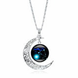 Creative Dreams™ Silvery Moon Zodiac Constellation Necklace