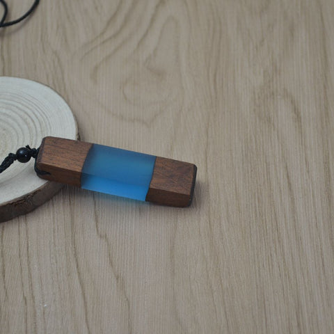 Nineteen Seventies Wooden Translucent Pendant Necklace