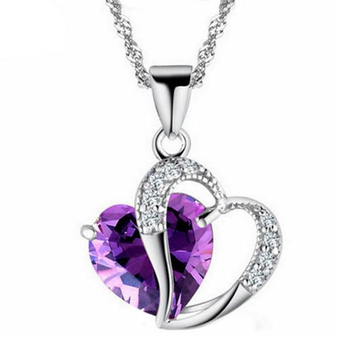 Double Heart Crystal and Rhinestone Jewelry Necklace with Silver Chain