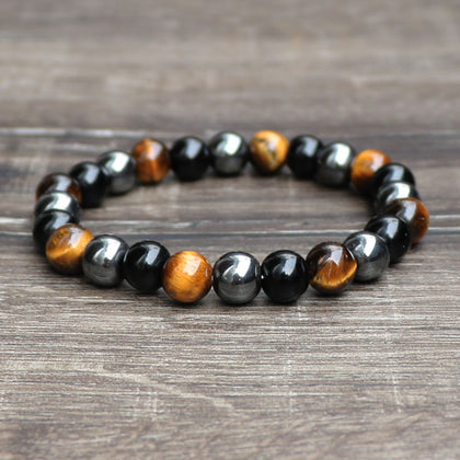Chakra Balance Tiger Eye and Hematite Bracelet for Women and Men