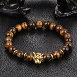 FREE: Intense and Beautiful Gold-Plated Leopard Head Jewelry and Natural Brown Stone Beaded Bracelets