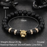 FREE: Intense and Beautiful Gold-Plated Leopard Head Natural Black Stone Beaded Bracelets for Men and Women!