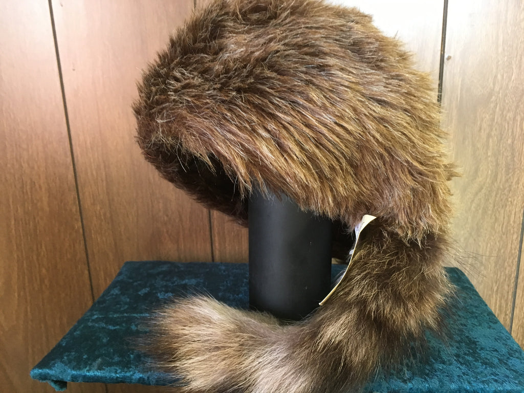 "Hat - Brown or Pink  ""Coonskin"" Cap"