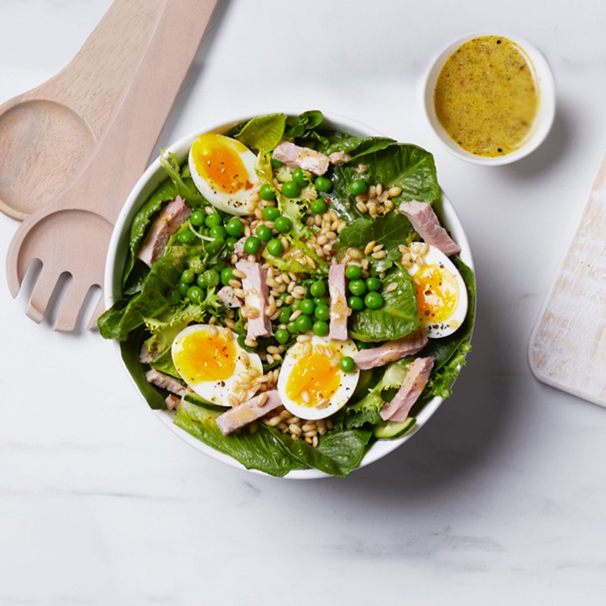Spring Greens with Berkshire Ham, Peas and Eggs with Lemon Dijon Dressing