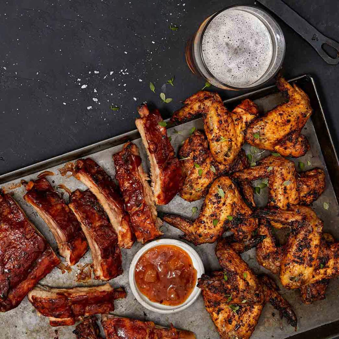 Oven-Baked Pork Ribs & Jamaican Jerk Chicken Wings