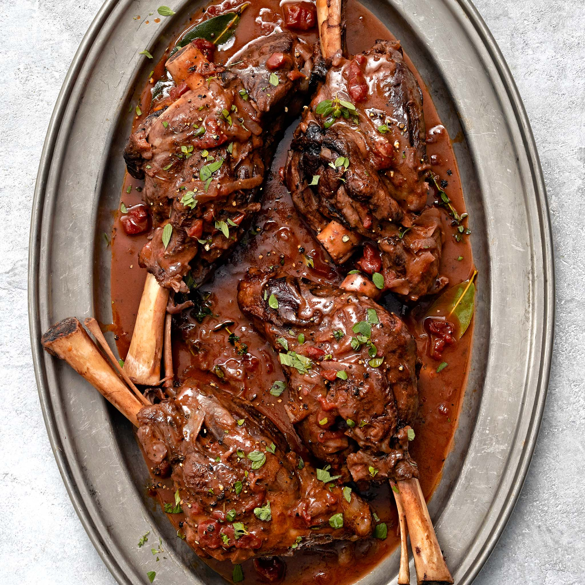Red Wine Braised Lamb Shanks with Thyme