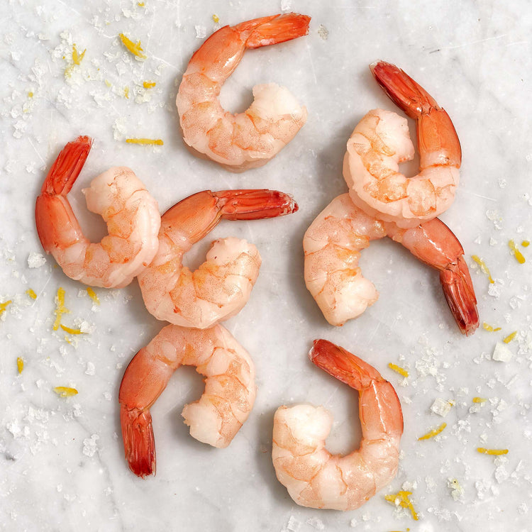Fully Cooked Peeled & Deveined Jumbo Shrimp Tail On - Cooked Shrimp 16/20 Shell Off; Tail On