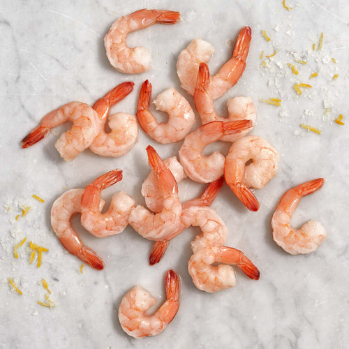 Fully Cooked Peeled & Deveined Medium Shrimp Tail On - Cooked Shrimp 41/50 Shell Off; Tail On