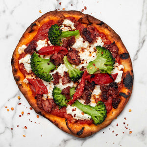 Calabresa Sausage Flatbread with Broccoli and Fresh Ricotta