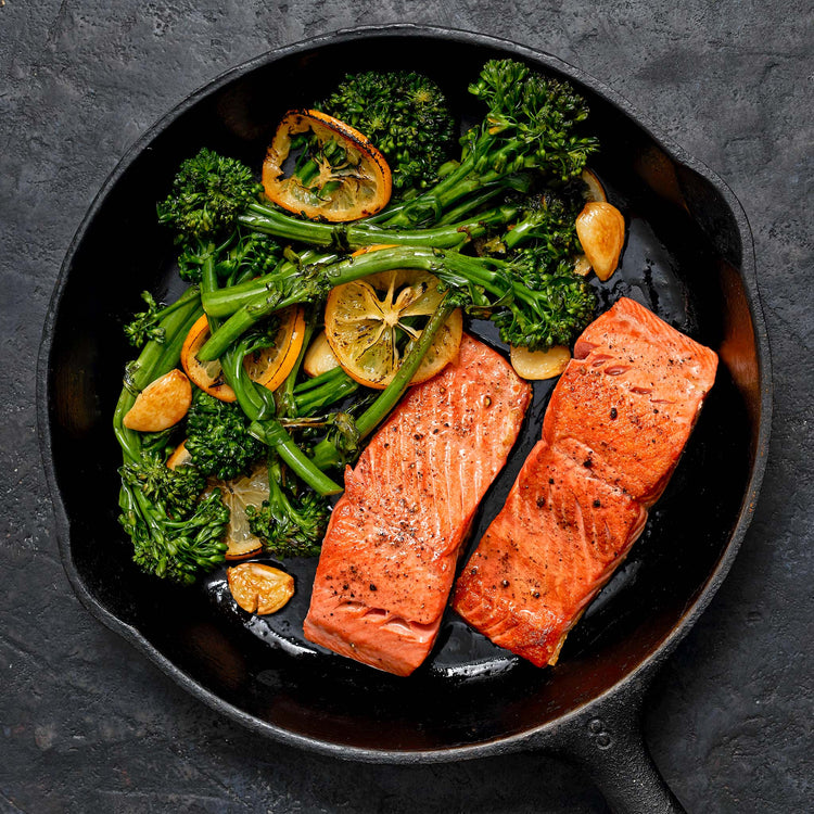 Skin-On Sockeye Salmon - Cast Iron Salmon  with Broccolini, Garlic and Lemon