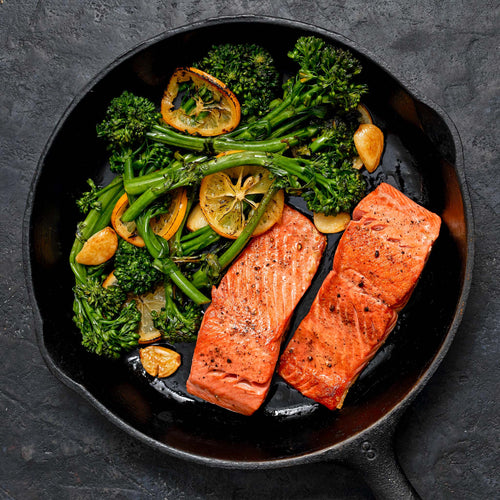 Skin-On Sockeye Salmon Fillets - Cast Iron Salmon  with Broccolini, Garlic and Lemon