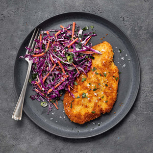 Chicken Schnitzel   with Red Cabbage and Apple Slaw