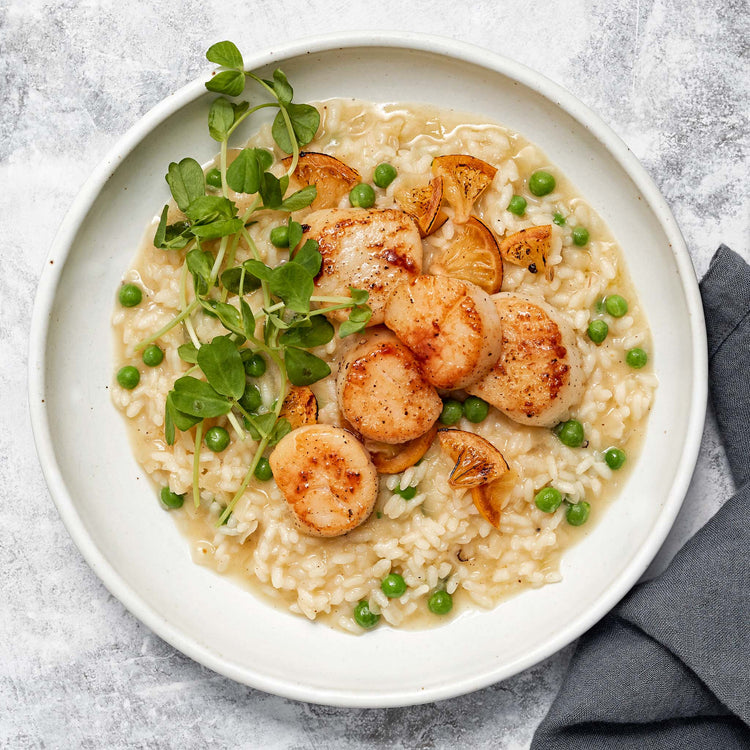Sea Scallops - Lemon Risotto with Pan-Seared Scallops  and Pea Shoots