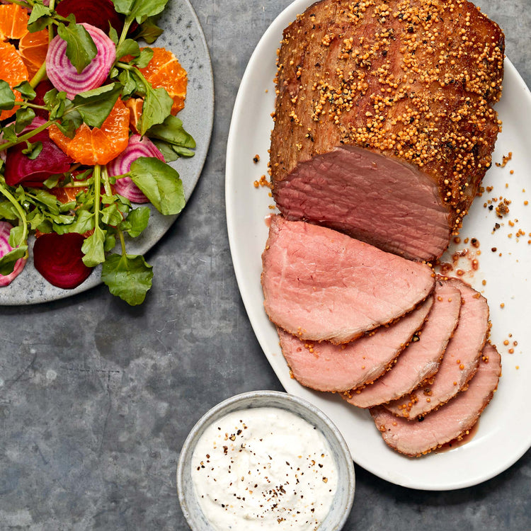 Beef Eye of Round Roast - Mustard Crusted Roast Beef with Horseradish Cream and Watercress Beetroot Salad