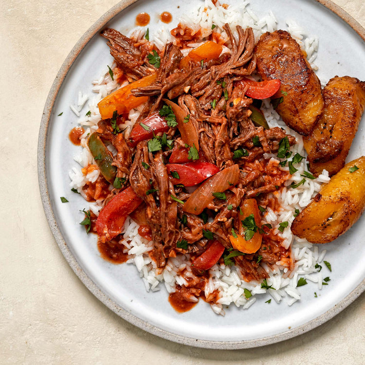 Ripe Plantain Slices - Flank steak Ropa Vieja wit fried plantains