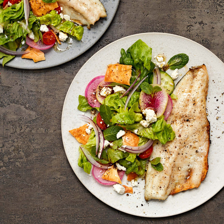 Skin-On European Sea Bass (Branzino) - Grilled Branzino  with Fattoush Salad