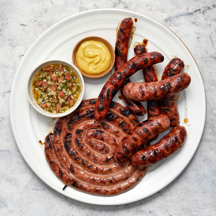 Brazilian Style Calabresa Sausage - Grilled sausages with two sauces