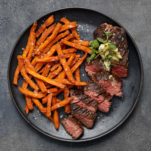 Black Angus Beef Hanger Steak - Hanger Steak with Oregano Butter and Sweet Potato Fries