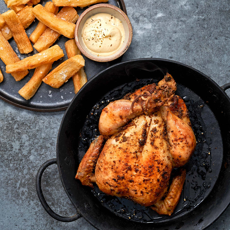Yuca Steak Cut Fries - Peruvian Style Roast Chicken with Ají Amarillo Sauce and Yuca Fries