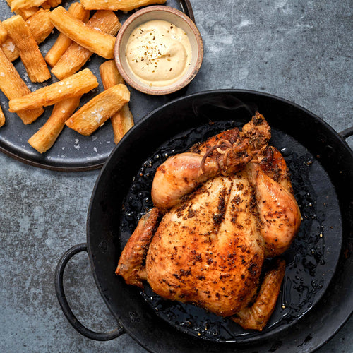 Antibiotic Free Whole Young Chicken - Peruvian Style Roast Chicken with Ají Amarillo Sauce and Yuca Fries