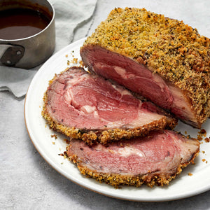 Ribeye Roast  with Garlic and Herb Crust and Truffle Demi-Glace