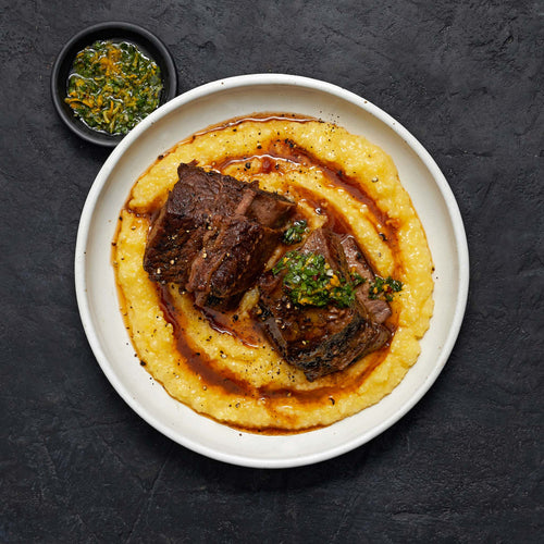 Black Angus Beef Bone-In Thick-Cut Rib Short Ribs - Cabernet Braised Short Ribs Polenta