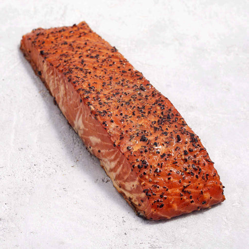 Peppered Hot Smoked Salmon - Blue Circle - Peppered Roasted Salmon - Blue Circle