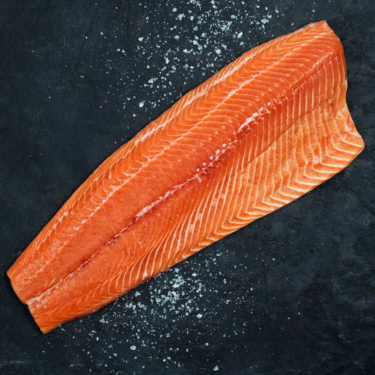 Skinless Sashimi Grade Atlantic Whole Salmon Fillet - Skinless Sashimi Grade Atlantic Whole Salmon Fillet Raw