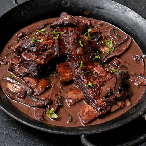 Bone-In Veal Short Ribs - Slow Cooked Veal Short Ribs  with Portobello, Port and Balsamic