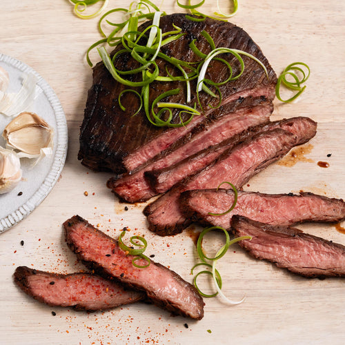Beef Flank Steak - Grilled Flank Steak with Fresh Garlic and Asian BBQ Rub