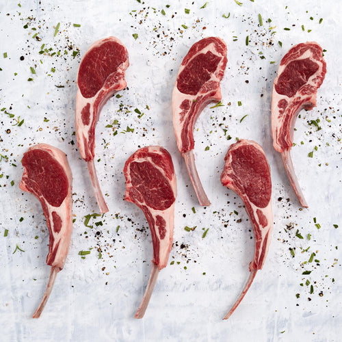 Grass Fed Bone-In Lamb Rib Chops - Premium Antibiotic Free Bone In Lamb Rib Chops