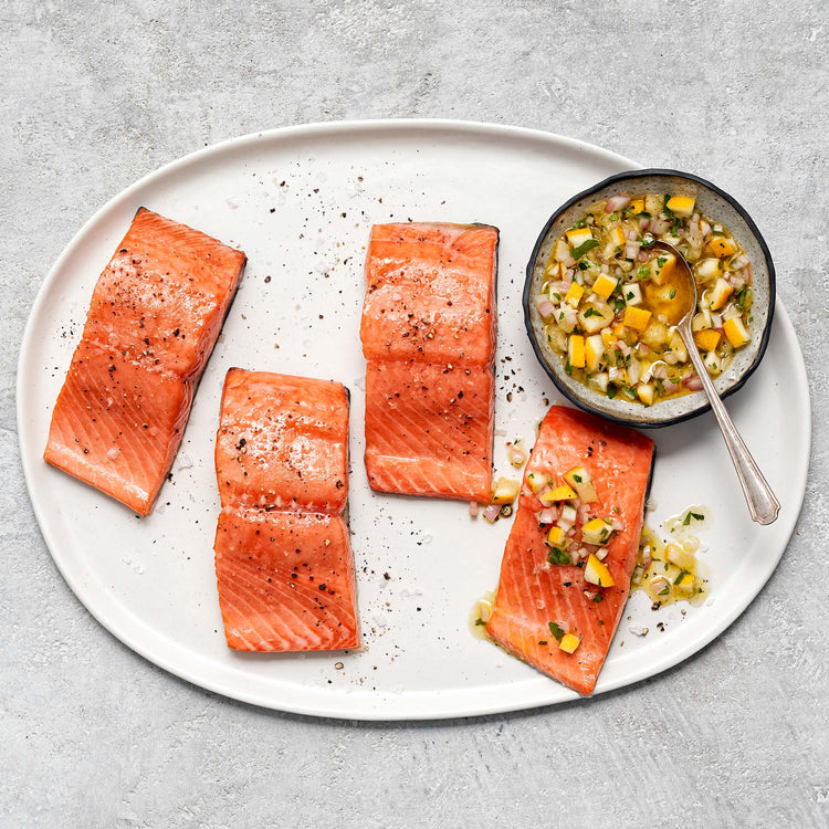 Skin-On Atlantic Salmon Fillets - Slow Cooked Salmon with Meyer Lemon Relish