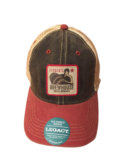 Brewhouse Faded Trucker Hat Black/Cardinal