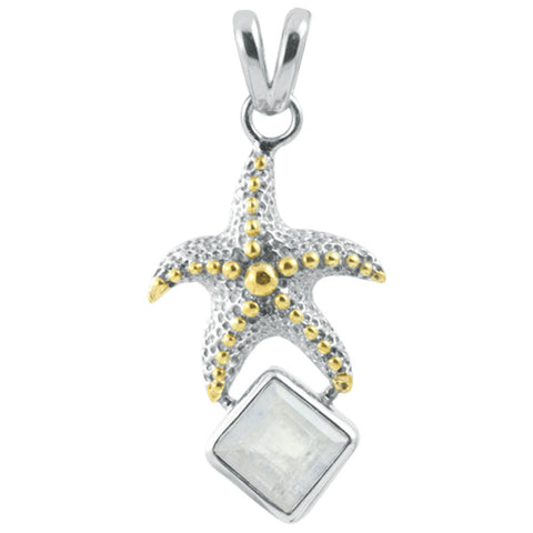 Starfish & Rainbow Moonstone Pendant
