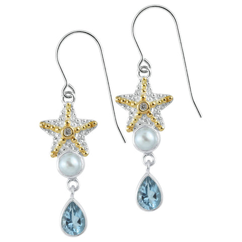 Exquisite Starfish Earring with Blue topaz & gold accents