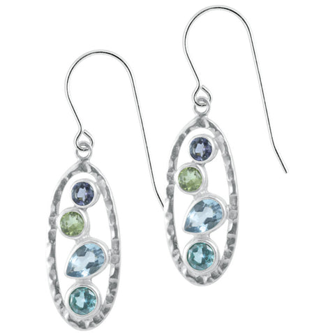 Multi gemstone  handmade Silver Earring - cluster of gemstones set into a silver hammered frame