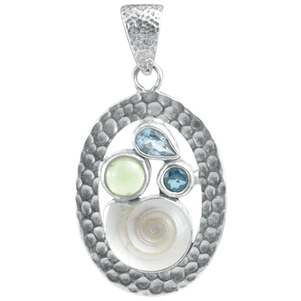 Charming Sea Shell Pendant featuring a medley of Gemstones set in a oval hammered silver frame