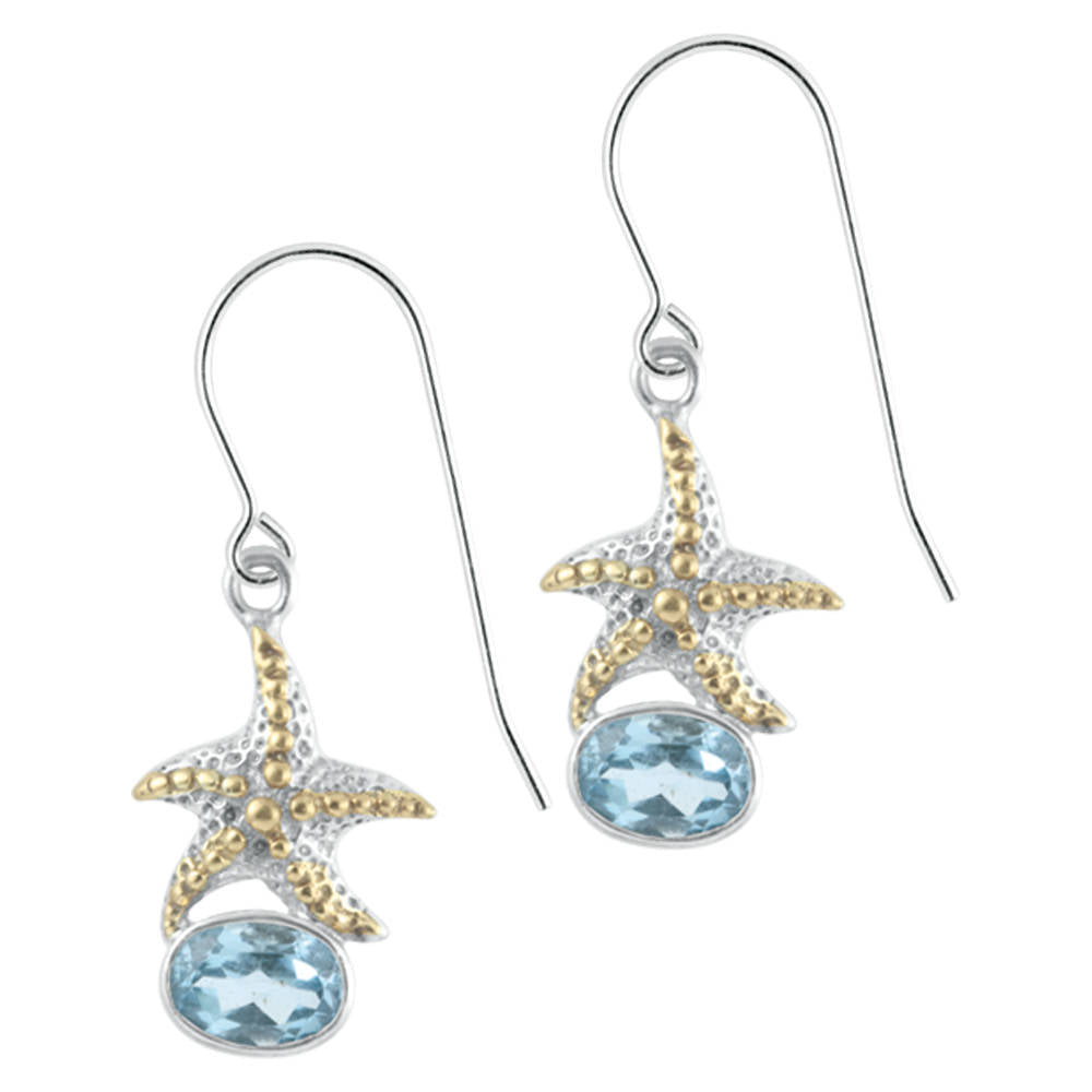 Sensational Starfish earrings with Blue topaz Sparkle