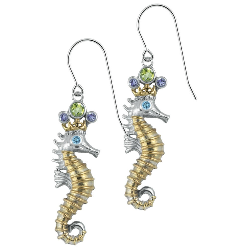 Silver Seahorse Earring with Jeweled Crown