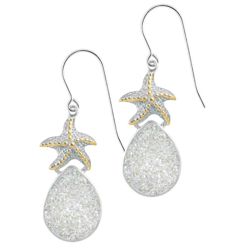 Silver Starfish Druze earring dazzling sparkle gives this Druzy earring a sensational shimmer
