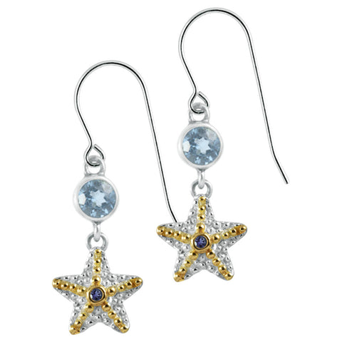 Adorable Starfish  Earring with blue topaz iolite and gold accents