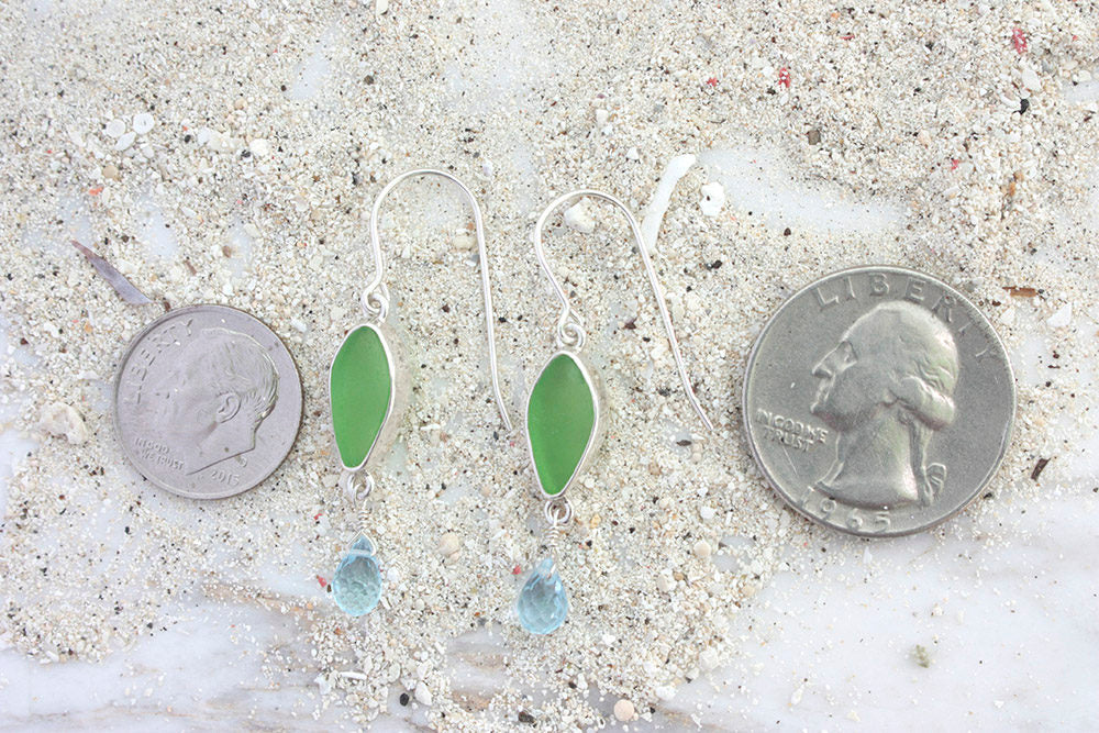Green Sea Glass Drop Earrings