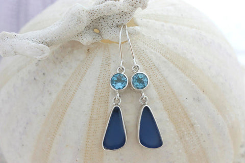 Stunning Blue topaz & Cobalt blue SEA GLASS earrings